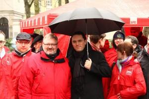 Stefan Kämmerling MdL zusammen mit SPD-Bundestagskandidat Detelf Loosz und Jusos aus der Städteregion Aachen
