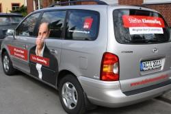 Unterwegs für eine gerechtes NRW: Das SPD-Teamfahrzeug von Landtagskandidat Stefan Kämmerling.