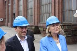 Stefan Kämmerling und Hannelore Kraft am 27.04.2012 zu Besuch bei der Eschweiler Röhrenwerke GmbH (ESW)