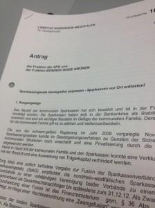 """Antrag """"Sparkassengesetz ideologiefrei anpassen - Sparkassen vor Ort entlasten!"""