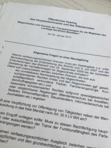 """""""Möglichkeiten und Grenzen der Transparenzregeln für die Mitglieder des Landtags Nordrhein-Westfalen"""""""